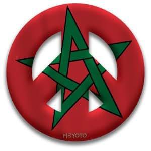 Peace Symbol Removable Vinyl Sticker of Morocco
