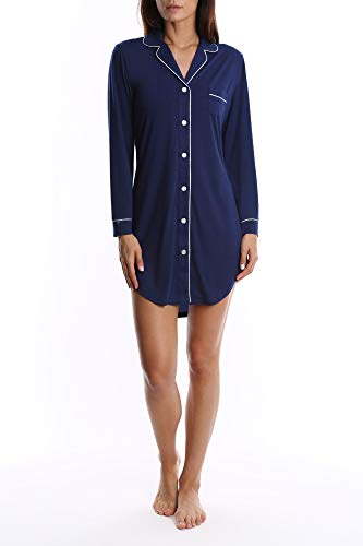Women's Long Sleeve Button Down Sleep Shirt Nightgown - Navy Blue - X-Large