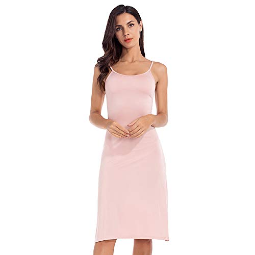 MANCYFIT Full Slip Dress for Women Spaghetti Strap Under Cami Slit Soft Sleeveless Nightgowns Apricot -
