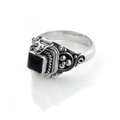 - Small Square Sterling Silver Black Onyx Poison Box Locket Ring Size 11(Sizes 4,5,6,7,8,9,10,11)