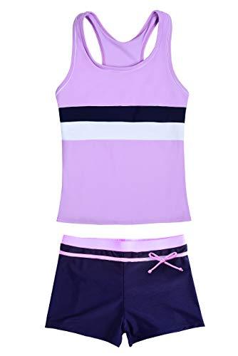 - JerrisApparel Little Girls' Summer Two Piece Boyshort Tankini Kids Swimsuit (3-4T/Tag Size M, Purple)