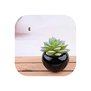 Ceramics Potted Artificial Green Succulent Plants Bonsai Set Fake Flower with Vase Home Balcony Decoration,E 9