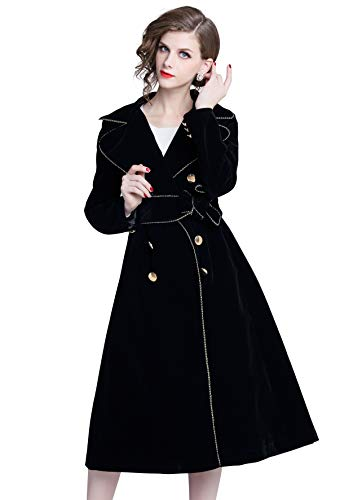 Womens Notched Collar Velvet Belted Double-Breasted Longline Coat Belted Notched Collar Coat
