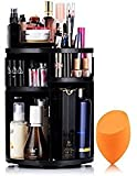 Lisiting 360 Degree Rotating Makeup Organizer for Birthday Gifts - Extra Large Capacity Adjustable Multifunctional Cosmetic Storage Box - Fit for Skin Care, Makeup Brushes, Makeup Sponges (Black)