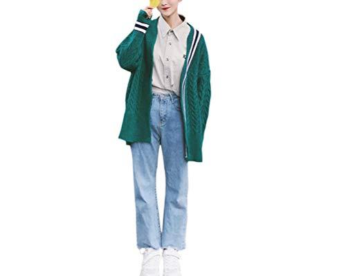 [NYGG] レディース ニット カーディガン 長袖 ロング丈 ボタンなし 不規則 個性的 ストライプ コート ゆったり 編み カジュアル カーディガン