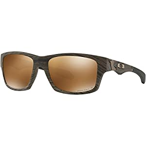 Oakley Men's Jupiter Squared Polarized Iridium Rectangular Sunglasses, Woodgrain, 56.3 mm