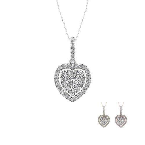 - IGI CERTIFIED 1/3ct Diamond Single Frame HEART Pendant, Diamond Pendant for Women in 10k Yellow Gold (I-J, I2)