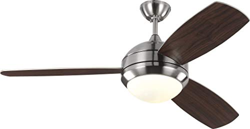 Monte Carlo 3DIR52BSD-V1 Protruding Mount, 3 Silver Blades Ceiling fan with 37 watts light, Brushed Steel ()