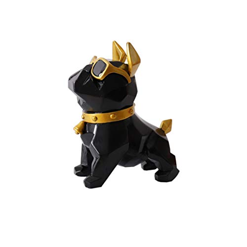XOBULLO Resin French Bulldog Statues Geometry Cute Dog with Glasses Cabinet Sculptures Ornaments Decoration Gift