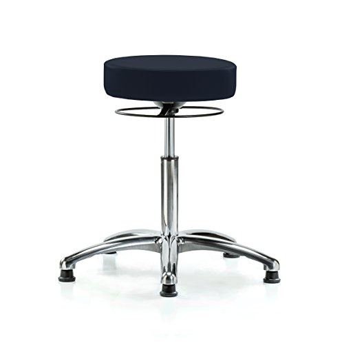 (Perch Chrome Stella Stationary Height Adjustable Salon & Spa Stool | Workbench Height 21-28.5 Inches | 300-Pound Weight Capacity | 12 Year Warranty (Imperial Fabric))