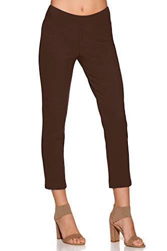 Straight Leg Crop Pant - Boston Proper Women's Wrinkle-Resistant Solid Color Knit Crop Pant Safari Brown X-Large