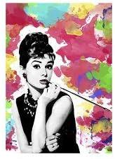 Dipinto Idea Regalo Casa Quadro Cucina Stanza da Letto Soggiorno Audrey Hepburn Social Crazy Stampa in Tela Canvas 100/% qualit/à Italia 40x50
