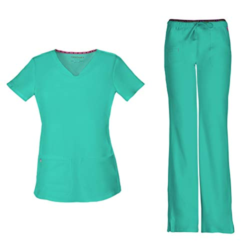 - HeartSoul Women's Pitter-Pat Shaped V-Neck Scrub Top 20710 & Heartbreaker Heart Soul Drawstring Scrub Pants 20110 Medical Scrub Set (Frosted Mint - Large/Large)