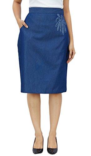 d't Bimba des patch Marin taille haut travail femmes jupes denim en ligne jupe Bleu PwqPUxRAr