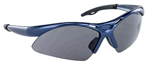 SAS Safety 540-0301 Diamondback Eyewear Safety Glasses High-Impact Polycarbonate Lens with Polybag, Shade Lens/Blue Frame (Safety Glasses High Impact)