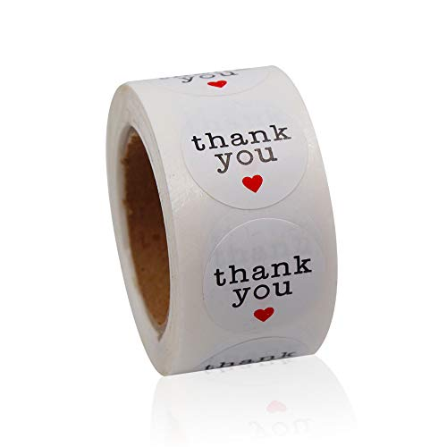 Red Round Gift Stickers - Thank You Stickers White Adhesive Label with Red Hearts for Envelope, Packages, Gifts, Wedding,1 Inch Round 500 Labels Per Roll ...