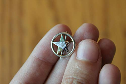 10K Order of the Eastern Star Lapel Pin Vintage Enamel Masonic Free Mason Brooch