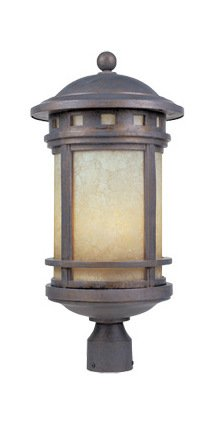 Mediterranean Patina w/Amber 3 Light 11in. Cast Aluminum Post Lantern from The Sedona Collection ()