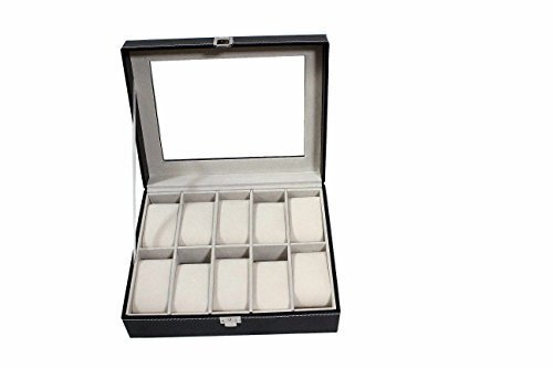 (America Phoenix 10 Grids Watch Display Jewelry Case Box Storage Holder Leather, Glass Top Jewelry)