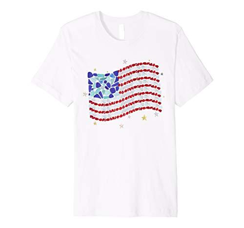 USA Flag made with Mosaic Sea Glass and Stars