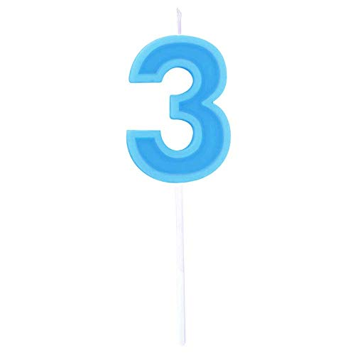 (Multicolor Happy Birthday Numeral Candles Number 3 Cake Cupcake Topper Decoration for Adults/Kids Theme Party/Wedding/Memorial day -Blue number 3)