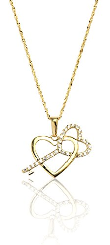 16'' 10k Yellow Gold Heart and Key Cubic Zirconia Charm Necklace for Women and Girls by SL Gold Imports