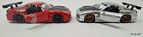 7 Car Rx Mazda Red - Bundle (2-Pack) - 1993 Mazda RX-7 | JDM Tuners Die Cast Metal Vehicle | 1:32 Scale | Motorized Pull Back Action | (Silver-Red)