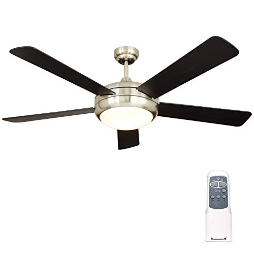 Hykolity 52 Inch Indoor Brushed Nickel Ceiling Fan with Dimmable Light Kit and Remote Control, Modern Style, Lifetime Motro Warranty, Reversible Blades, ETL for Living room, Bedroom, Basement, Kitchen