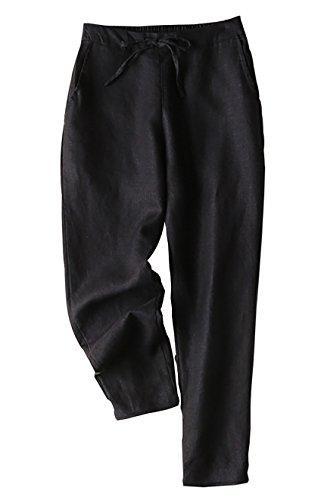 Yimoon Women's 100% Linen Drawstring Back Elastic Waist Tapered Cigarette Pants Trousers (Black, Large) ()