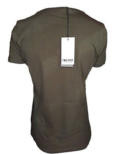 Two Play T-Shirt Donna Maglia Scollo a V Mezza Manica in Cotone Verde TG L