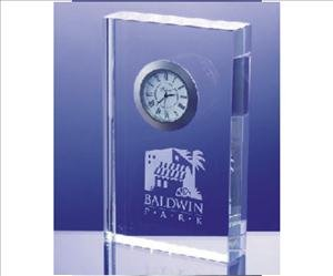 ANEDesigns Engraved Crystal Rectangle Block Clock