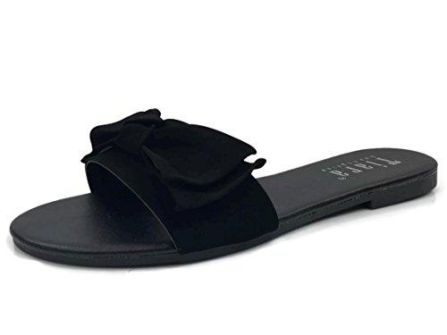 Wide Slide (Wide Band Summer Sandal Slide With Twist Bow Flat, Black, 10)