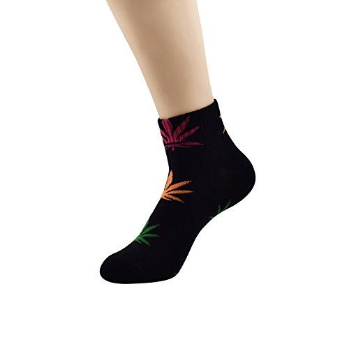 Zando Soft Printed Marijuana Weed Leaf Crew Huf Socks for Men Cotton Warm Sports Short Sock 1/8 Pack 1 Pack-Black/Mix orange green rose red One (Mens Printed Racer)