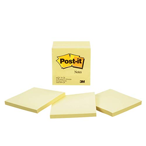 Post-it Notes, America's #1 Favorite Sticky Note, 3 Inches x 3 Inches, Canary Yellow, 75 Sheets per Pad, Six Pads per Pack (5442) ()