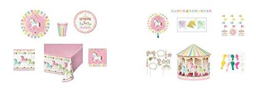 Birthday Carousel Themed Dinnerware/Decorations Combo Pack 12-Piece Bundle,