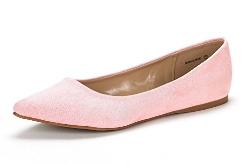 DREAM PAIRS Sole Classic Women's Casual Pointed Toe Ballet Comfort Soft Slip On Flats Shoes Pink Size 7