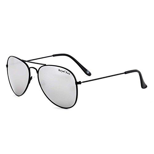 Royal Son UV Protected Aviator Unisex Sunglasses (RS0017AV|58|Silver Mirrored Lens)