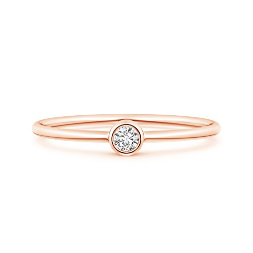 Solitaire Lab Grown Round Diamond Stackable Ring in 14k Rose ()