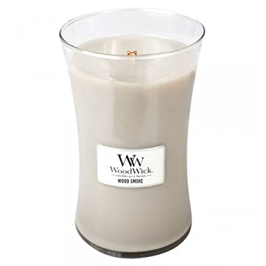 WOOD SMOKE - WoodWick 21.5 oz Large Jar Candle Burns 130 Hours