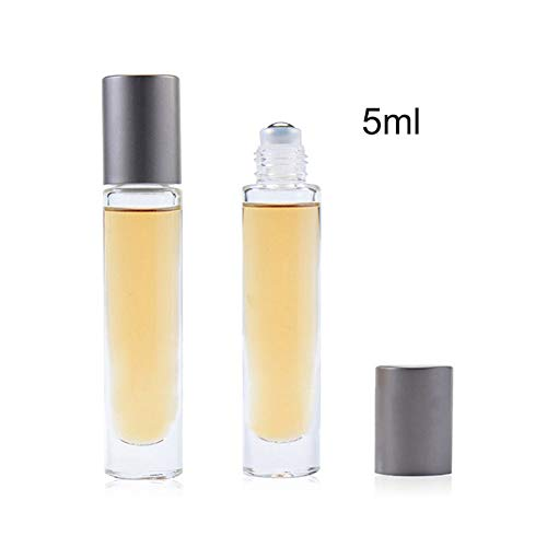 HuntGold Essential Oil Roller Bottles 5ml/20ml, Empty Frosted Glass Vials With Cap Fragrance For Essential Oils-5ML