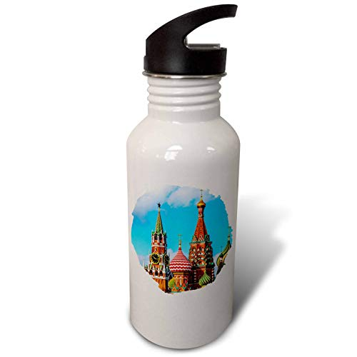 (3dRose Alexis Photography - Moscow Kremlin - Moscow Kremlin Spassky tower and St. Basils Cathedral. Round frame - Flip Straw 21oz Water Bottle (wb_287110_2) )