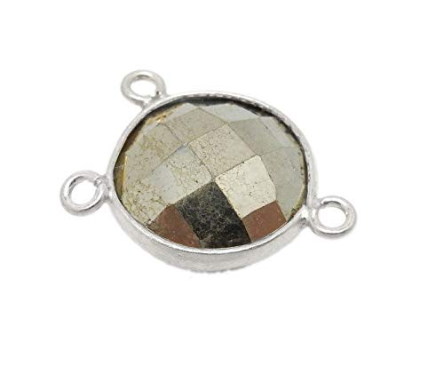 (Unique Selection Charms Pyrite Station Round Triple Bail Connector 10mm Sterling Silver Bezel Link Charm Pendant)