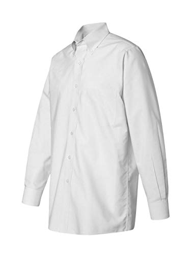 Van Heusen Men's Long Sleeve Blended Pinpoint Oxford Shirt, White, ()