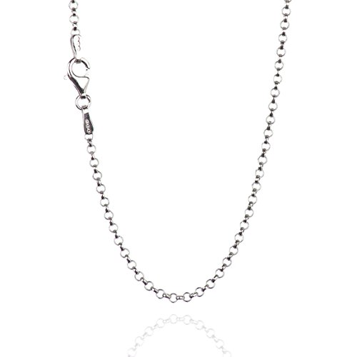 925 Sterling Silver 2.00 mm Round Rolo Chain Necklace with Pear Shape Clasp-Rhodium Finish