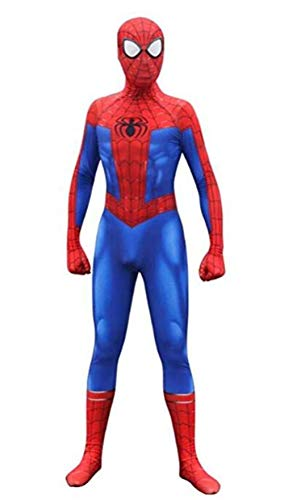 Cosplay Costumes Unisex Lycra Spandex Bodysuit Halloween New into The Spider Verse Miles Morales Adult/Kids Blue]()