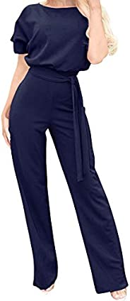 Eledobby Womens Casual Off-Shoulder Jumpsuits Solid Color Long Sleeves Stretchy Drawstring Belt One Piece Romp