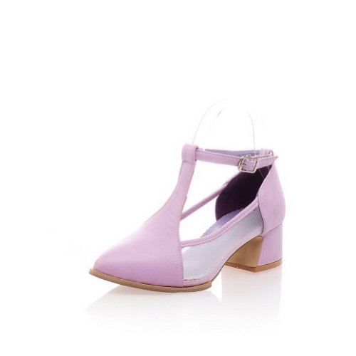 Sandals Pointed 9 Womans PU Solid 5 Heels Purple Soft M Closed WeenFashion B US Material Kitten AqfczzB
