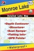 Monroe Lake Waterproof Fishing Map (Indiana Fishing Map Series, L192)