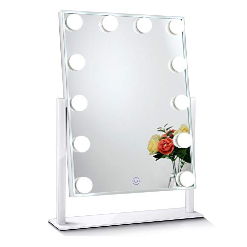 Chende Glossy White Lighted Vanity Mirror with Dimmable LED Bulbs, Hollywood Style Makeup Mirror with Lights for Touch Control Design, 3 Different Lighting Settings (4030 White) - White Glossy Glass