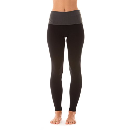 Roll Waist Yoga Pant (Coco-Limon [L200-BLK/CHR-L/XL] Leggings For Women, Long, Roll Over Waist Band, Polyester/Spandex)